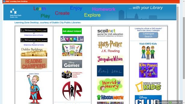 Captura de tela do Netvibes aplicado na Rede de Bibliotecas Públicas de Dublin - setor infantil